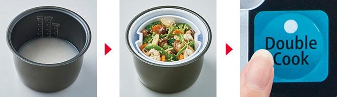 Chế độ nấu Double Cook thông minh trên nồi cơm điện tử Hitachi