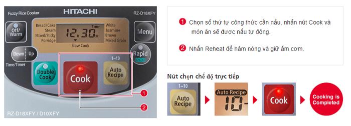 Chế độ nấu tự động thông minh trên Nồi cơm điện tử 1L Hitachi RZ-D10XFY