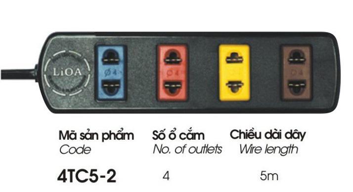Ổ Cắm Điện Phổ Thông Lioa 4TC5-2