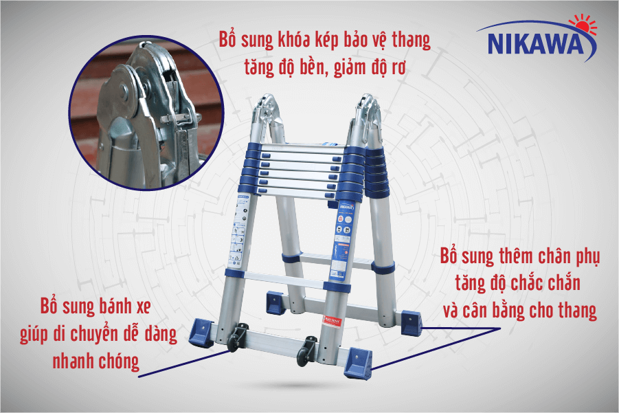 Thang nhôm rút đôi Nikawa NK-44AI-Pri chính hãng   Chợ Lớn JSC