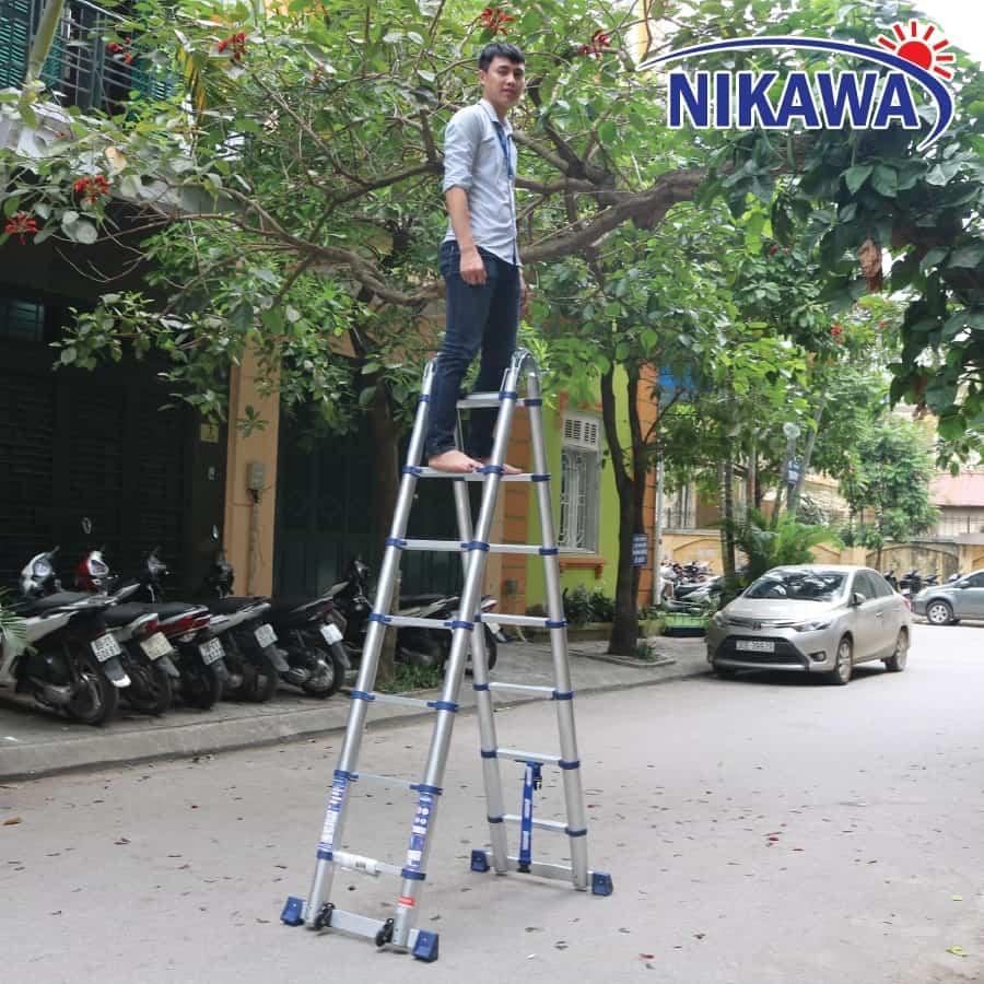 Thang nhôm rút đôi Nikawa NK-44AI PRI cải tiến tăng độ bền giảm độ rơ